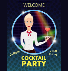 flyer design template cocktail party vector image vector image