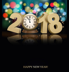 Happy new year background with 2018 a clock and vector