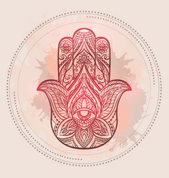 henna of hamsa with boho pattern and vector image