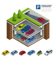 parking garage underground indoor car park urban vector image