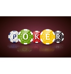 Poker chips with word POKER Casino concept of vector image vector image