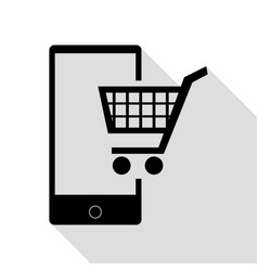shopping on smart phone sign black icon with flat vector image vector image