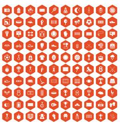 100 stadium icons hexagon orange vector