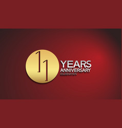 11 years anniversary logotype with golden circle vector