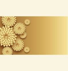 3d golden flowers decoration with text space vector