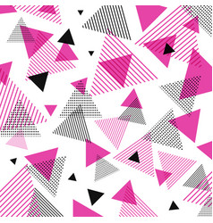 abstract modern pink black triangles pattern vector image