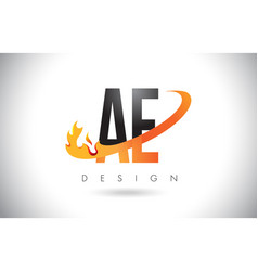 Ae a d letter logo with fire flames design vector
