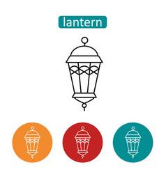 arabic lantern outline icons set vector image