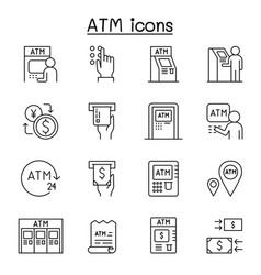 atm icons set in thin line style vector image