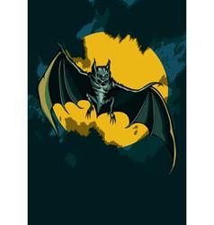 Bat in the night sky vector image