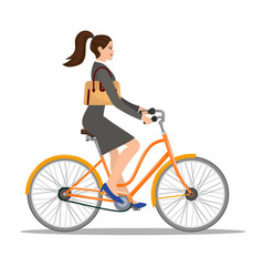 beautiful woman in dress rides a bicycle vector image