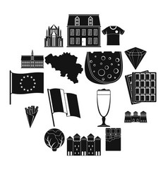 Belgium travel icons set simple style vector