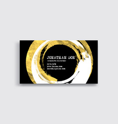 Black white and gold business card template vector