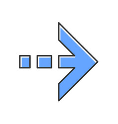 Blue arrow with dotted dash line color icon east vector