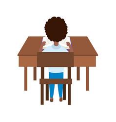 Boy kid school in desk design vector