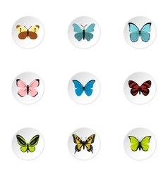 Butterfly icons set flat style vector