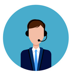 call service support male worker icon round blue vector image