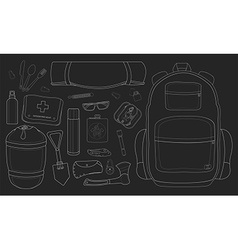 Camping set chalkboard vector image vector image