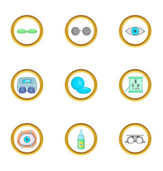 Caring for eyes icons set cartoon style vector