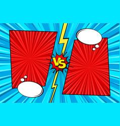 cartoon comic background fight versus comics vector image