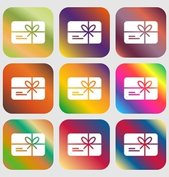 Certificate icon sign Nine buttons with bright vector