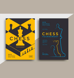 chess tournament posters set template with board vector image