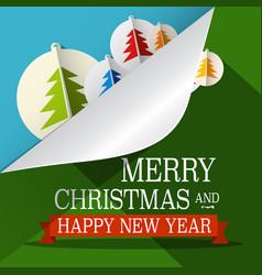 Christmas xmas green paper cut tree eve december vector