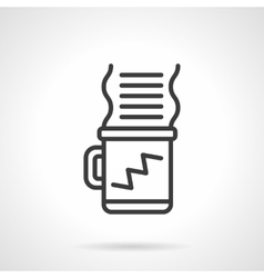 Coffee for work black line design icon vector image