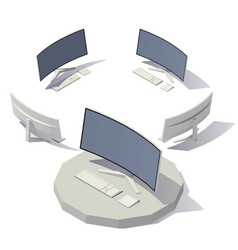 Computer curved screen vector