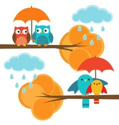 Couples owls and birds autumn vector