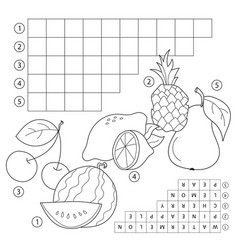 crossword puzzle game with fruits educational vector image