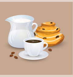 Cup with coffee drink sweets and beans vector