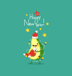 Cute avocado wish you a happy new year vector