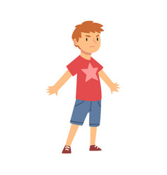 Cute brave little boy character standing in vector