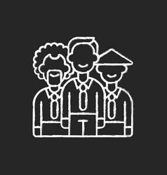 Diversity chalk white icon on black background vector