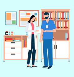Doctor and nurse stand with patient card medical vector
