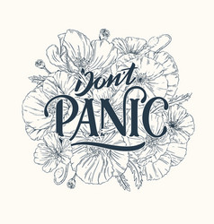 Dont panic line lettering vector