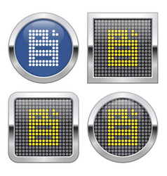 Dotted icon document on glossy button in four vector