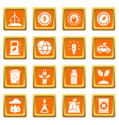 ecology icons set orange square vector image