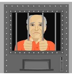 elderly man looking from behind bars vector image