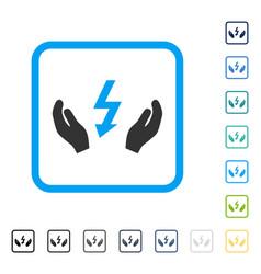 Electrical power maintenance hands framed vector