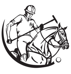 Equestrian sport polo club vector
