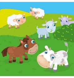 Farm Animals On The Meadow vector