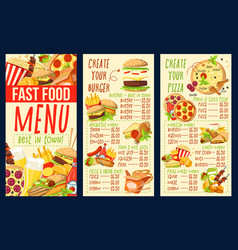 fast food combo meals burgers and pizza menu vector image