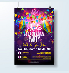 Festa junina party flyer with flags vector