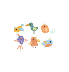 flat set of cute little birds lovely vector image