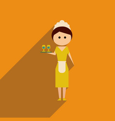 Flat web icon with long shadow girl waitress vector