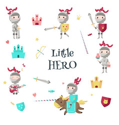 funny little knight icon set isolated vector image