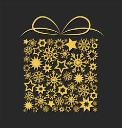 gift box with golden stars and snowflakes on dark vector image