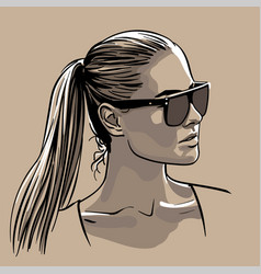 Girl in sunglasses with ponytail hairstyle vector